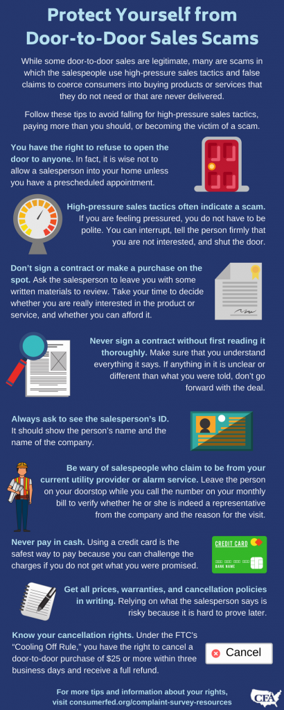 Protect Yourself From Doortodoor Sales Scams  Consumer Federation  This Blog Is One Of A Series Of Articles Contributed By State And Local  Consumer Agencies In Connection With The Annual Survey About Consumer  Complaints